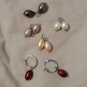 Sterling silver hoops with genuine pearls